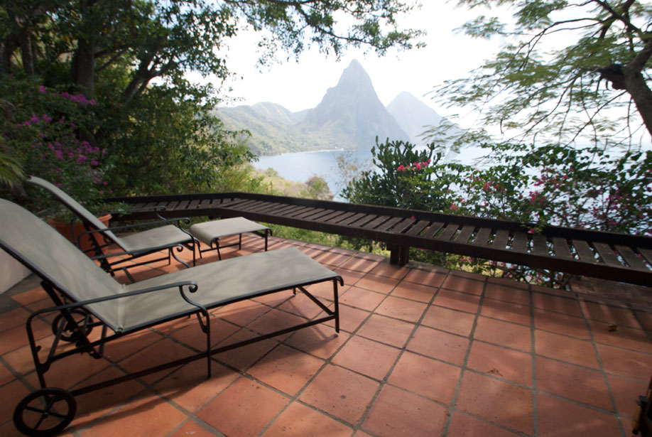 Bouganvilla Private, Secluded Patio facing the Pitons and Caribbean Sea