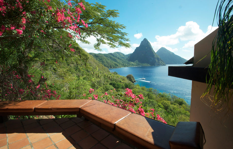 Living Room Patio Facing the Pitons